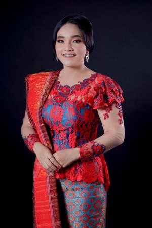 portrait of beautiful indonesian women wearing traditional batak costume. batak modern traditional clothes Imagens