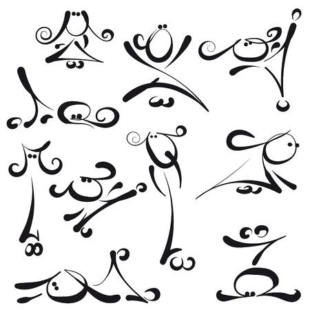 simple drawn stick women set action icons