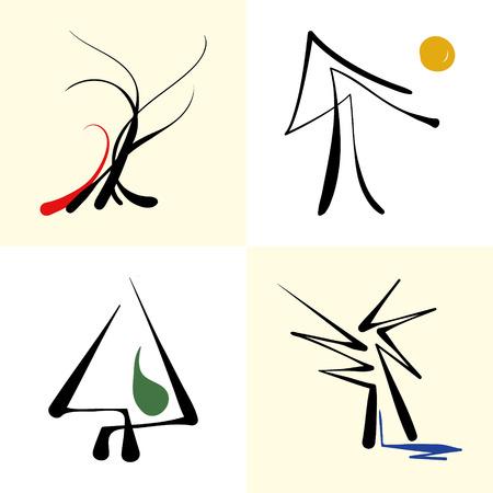 set of stylized icon trees Иллюстрация