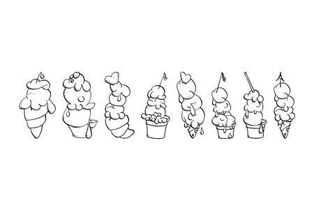 hand drawn ice cream cone variations set for decoration, background or design elements