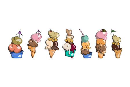 Ice cream collection, doodle vector illustration.