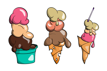 Ice cream Collection, doodle vector illustration