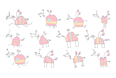 Sweet hand drawn unicorn with pink body and magic horn.