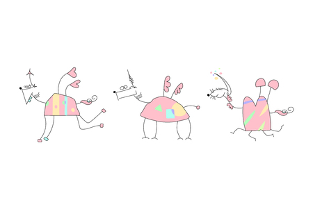 Vector Illustration of a Hand Drawn Unicorn Doodle