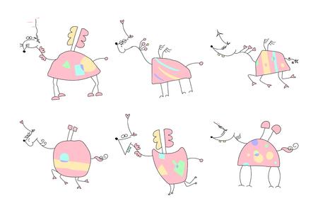 Hand drawn unicorn doodles vector illustration.  イラスト・ベクター素材
