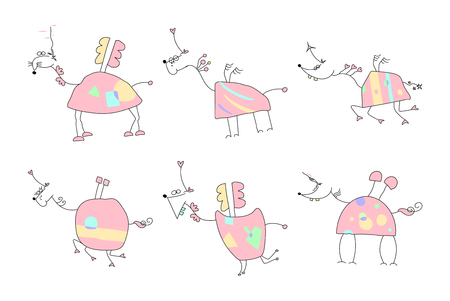 Hand drawn unicorn doodles vector illustration. Illustration