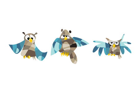 Cute set of owl pictures on white background.
