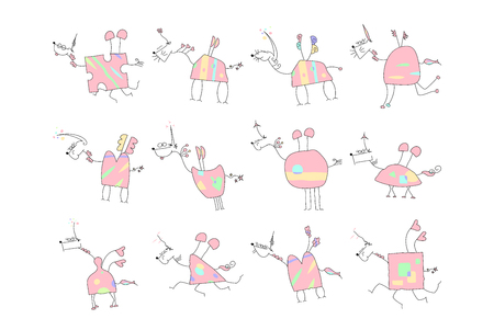 Herd of Pink Unicorns with wings and horn - Doodle Vector Illustration of a Hand Drawn Unicorn Sketch.
