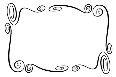 Flourish Vector Frame. Rectangle with squiggles, twirls and embellishments for image and text elements. Hand drawn black highlighting curlicue border isolated on the white background. Doodle effect. Pencil marks. Cartoon style. Geometric shapes for your design. Sketch look