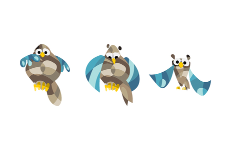 Cute owl pictures Vector illustration set of owls in origami style