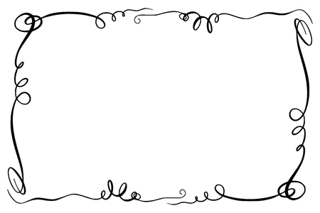 Rectangular flourish embellishment frame border cartoon style illustration. Иллюстрация