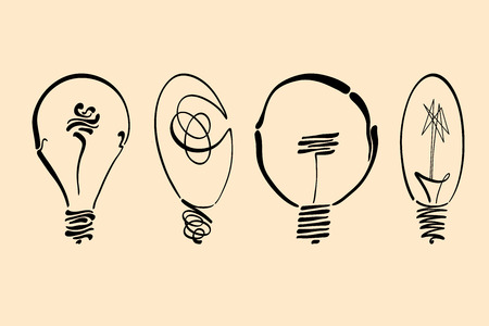 Light bulb vector image, hand drawn lightbulb set usable as logo, icon, clipart, symbol or idea design element in modern and simple design