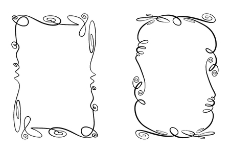 Set of Flourish Vector Frames. Collection of Rectangles with squiggles, twirls and embellishments for image and text elements