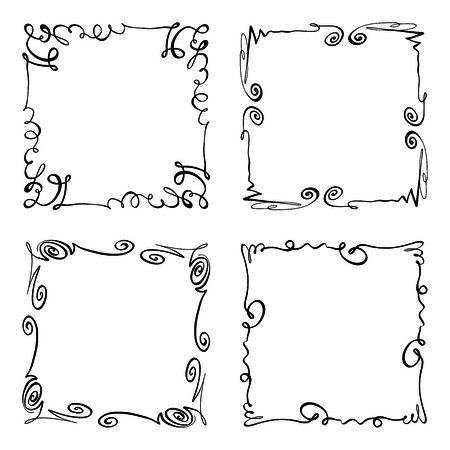 Simple doodle, scribble borders, sketch rectangular grunge vector frames, black, white isolated