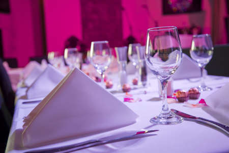 happening: Table dressed up for wedding reception Stock Photo