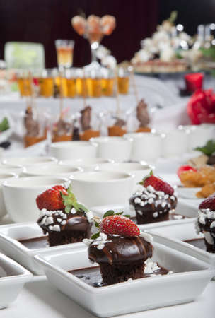 Asian Fusion appetizers and desserts on table Stock Photo - 6100196