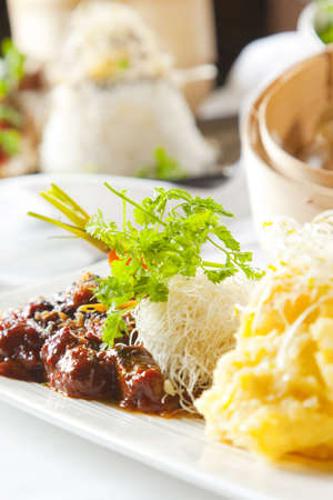 Asian dish with beef, noodles and vegetables Stock Photo - 6100168