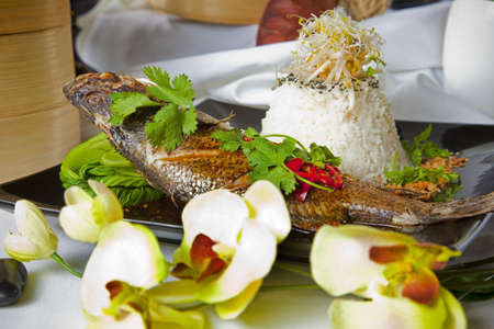 Australian Barramundi, served with fragrant Jasmine rice and wilted bok choy Stock Photo - 6100162