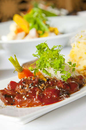 Asian dish with beef, noodles and vegetables Stock Photo - 6100192