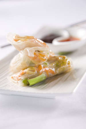 Vietnamese Summer Rolls with dipping sauces photo