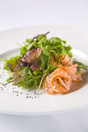 Salmon Salad with sesame seeds Stock Photo - 6132890