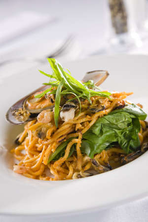 Mussels and noodles photo