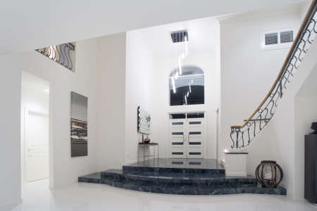 showcase interiors: Modern luxury mansion entrance with marble stairs