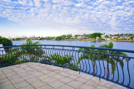 Balcony views from waterfront Mansion overlooking the canal photo