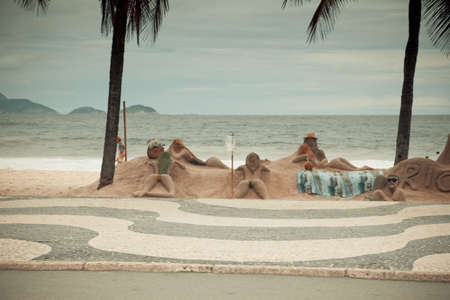 artists making sand sculptures on Copacabana beach Stock Photo - 6151987