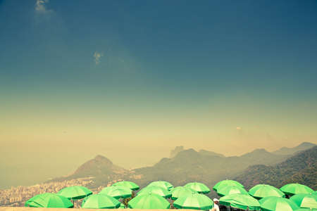 green parasols at Corcovado overlooking Ipanema photo