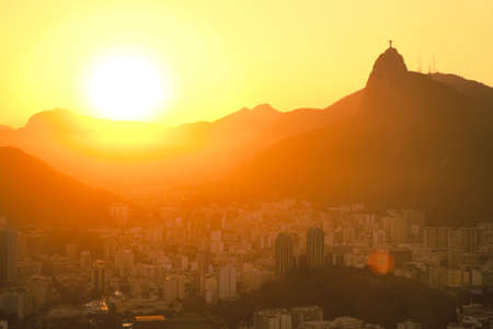 sunset views of Jesus and Corcovado from Sugar Loaf Mountain photo
