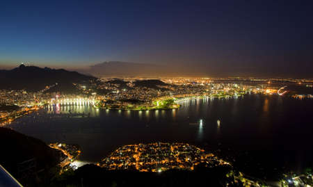 Night views of Rio De Janeiro Brazil from Sugar Loaf Mountain photo