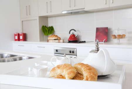 Kitchen in new modern townhouse photo