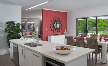Kitchen in new modern townhouse photo