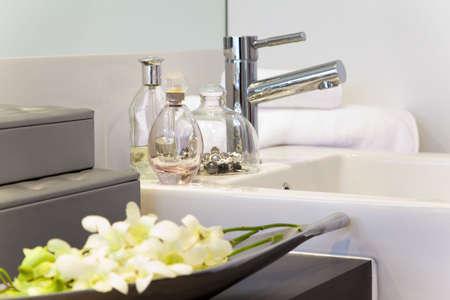 showcase interiors: bathroom detail in modern townhouse Stock Photo