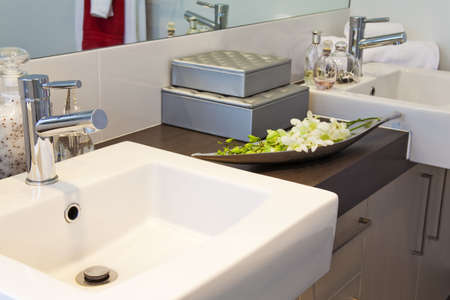 bathroom detail in modern townhouse Stock Photo