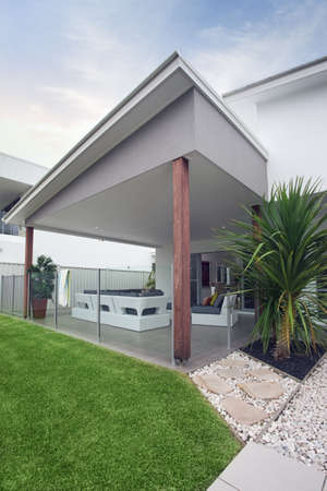 modern lifestyle: design feature modern townhouse Stock Photo