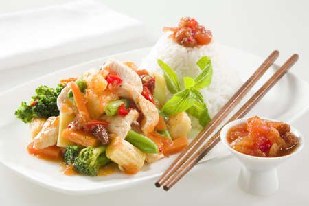 stir fry: Chicken stir fry with chutney Stock Photo