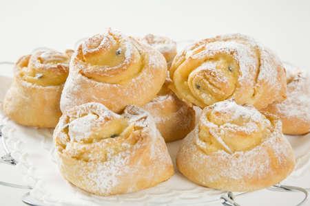 savoury: sweet Savoury buns with white icing Фото со стока