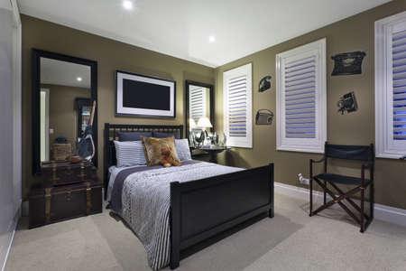 bedroom furniture: Stylish bedroom with elegant fittings