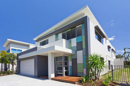 house property: Modern architectural house front Stock Photo