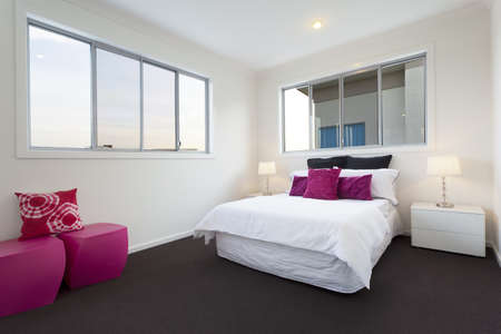 Modern bedroom with double bed Stock Photo - 13909509
