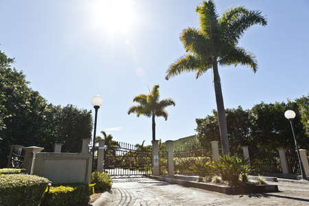 Entrance to luxury gated estate photo