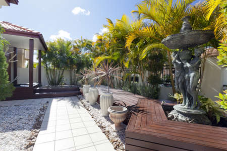 Decking in luxury backyard Stock Photo - 13909658
