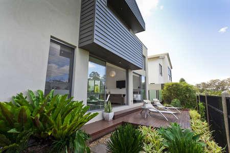 Modern Australian house facade with open living area photo