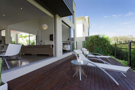 wooden outdoor deck in modern Australian mansion photo