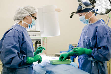 surgeon operating: Surgeon and nurse in operating theatre Stock Photo