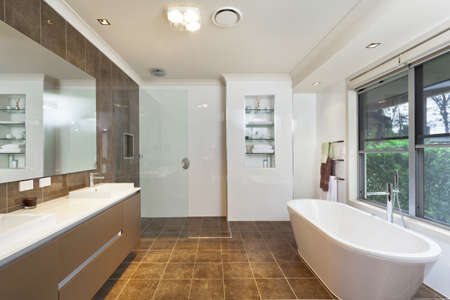 Modern bathroom in stylish Australian house photo