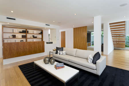Modern living room in new home photo