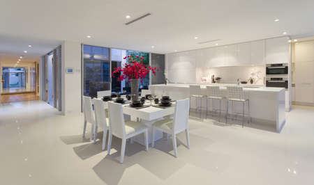 apartment interior: Dining area and kitchen in stunning Australian home